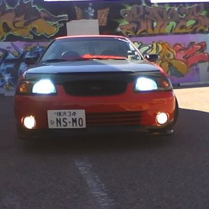 this is the front view and new jdm plate,H.I.Ds,painted the grill black.